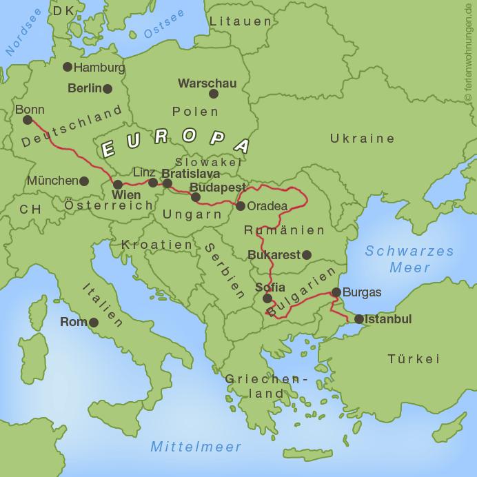 Bisheriger Verlauf der Motorradreise zum Schwarzen Meer