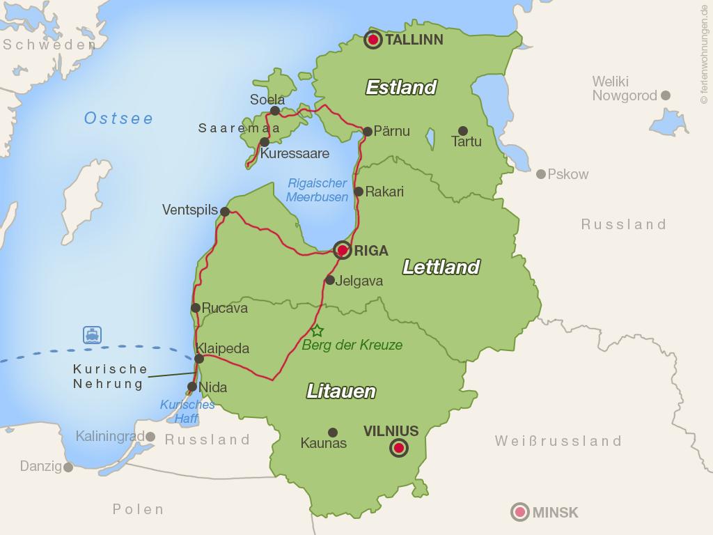 Unsere Strecke durch das Baltikum