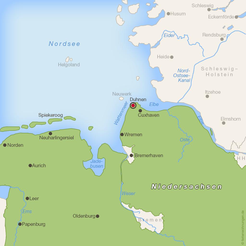 Karte Niedersächsische Nordseeküste