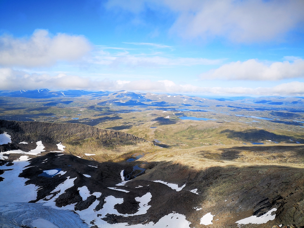 Ausblick vom Helags, Schwedens höchstem Berg südlich des Polarkreises