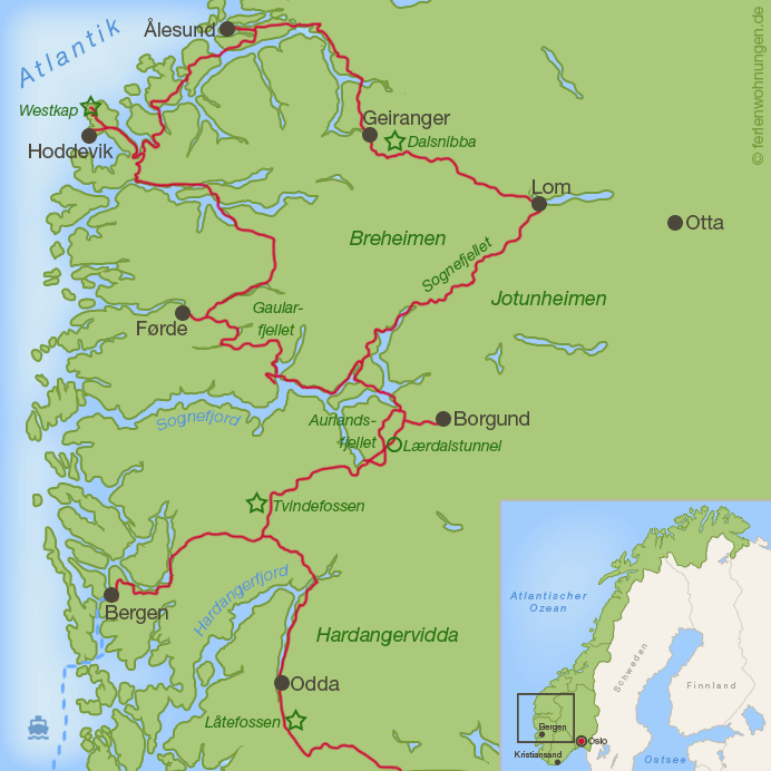 Karte Roadtrip durch Norwegen