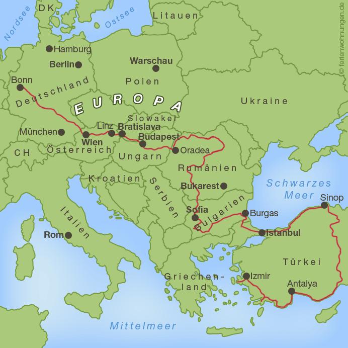 Türkei - Bisheriger Verlauf der Motorradreise zum Schwarzen Meer