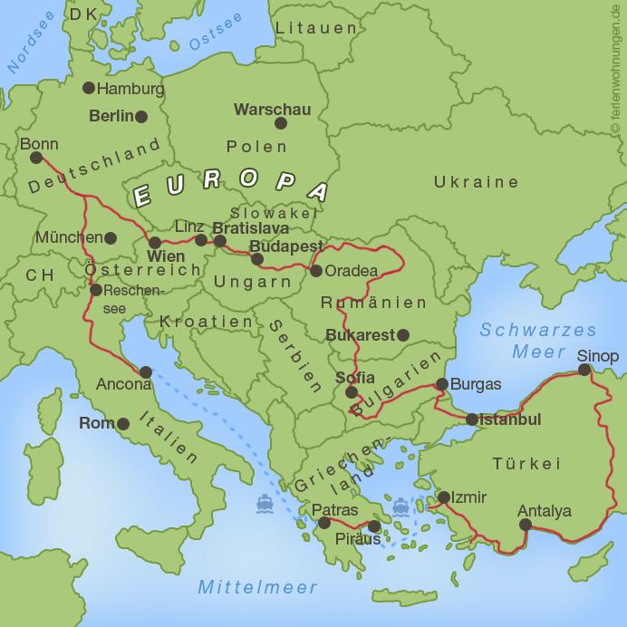 Verlauf der Motorradreise zum Schwarzen Meer