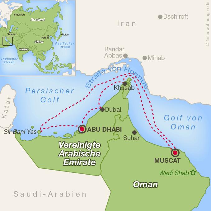 Kreuzfahrtroute im Osten der Arabischen Halbinsel