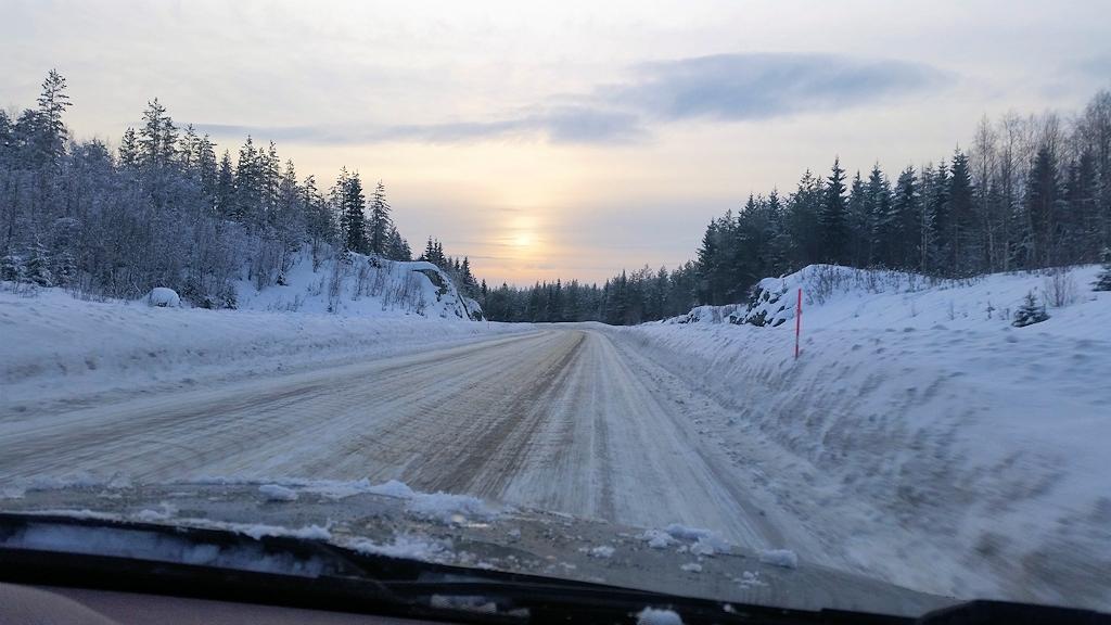 Sonnenuntergang auf unserem Roadtrip zum Polarkreis