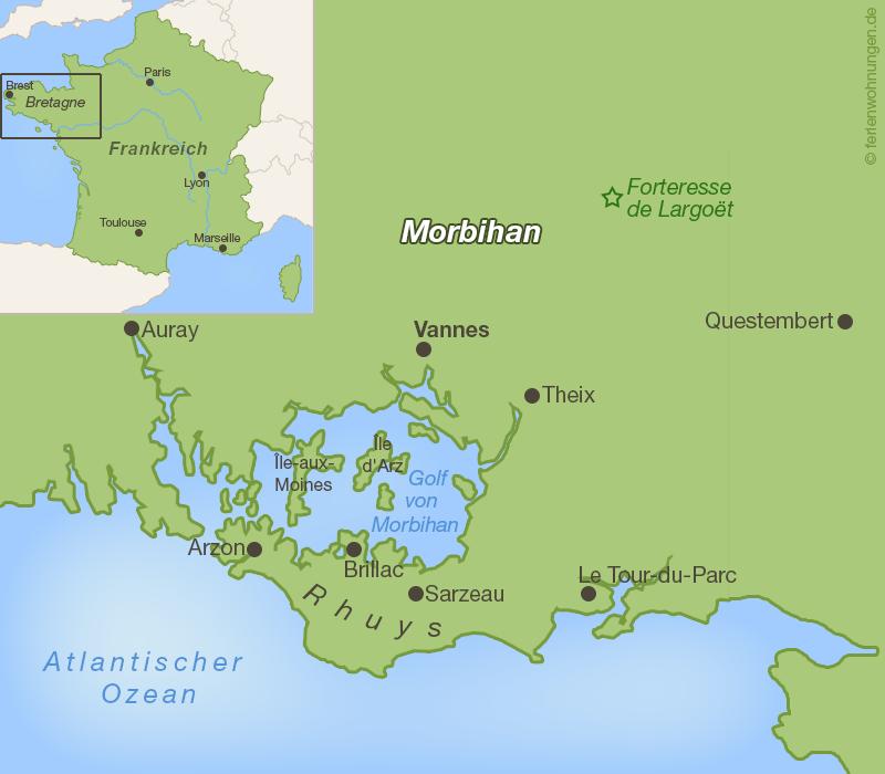 Karte Golf von Morbihan