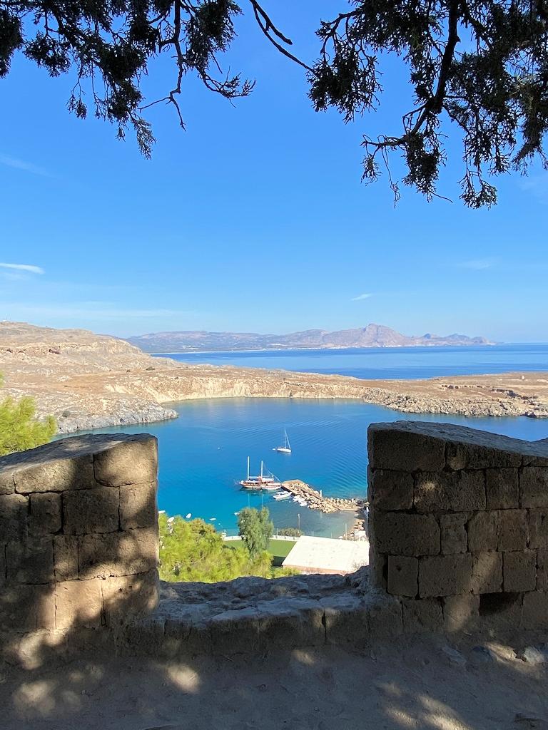 Ausblick auf den Hafen von Lindos