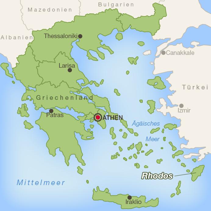 Lage der Insel Rhodos