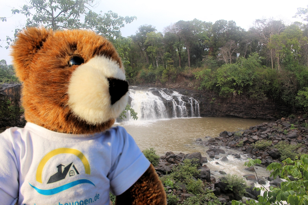 Der Urlaubär an einem Wasserfall auf dem Bolaven Plateau